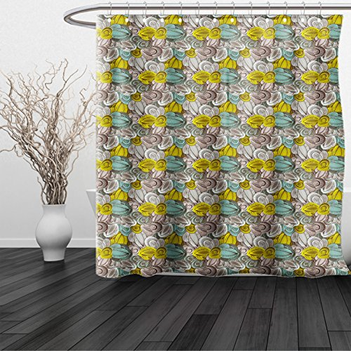 HAIXIA Shower Curtain Abstract Floral Pattern Line Art Foliage Design Hand Drawn Doodle Yellow Green Mint Green Chocolate