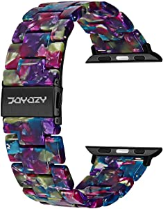 Joyozy Compatible with Apple Watch Bands 38mm 40mm 42mm 44mm, Resin Wristbands Replacement for iWatch SE& Series 6/5/4/3/2/1 for Women Men Gift Fashion Bracelet-(38mm/40mm,Flower Purple Green)