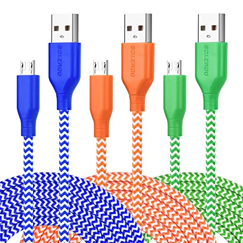 Micro USB Cable, 10ft 3Pack Extra Long Tangle-Free Nylon Braided Micro USB 2.0 Charging Cable Cord by Boxeroo Compatible for Samsung, HTC, LG, Sony, Smart Phones, Tablets, MP3 Players and More