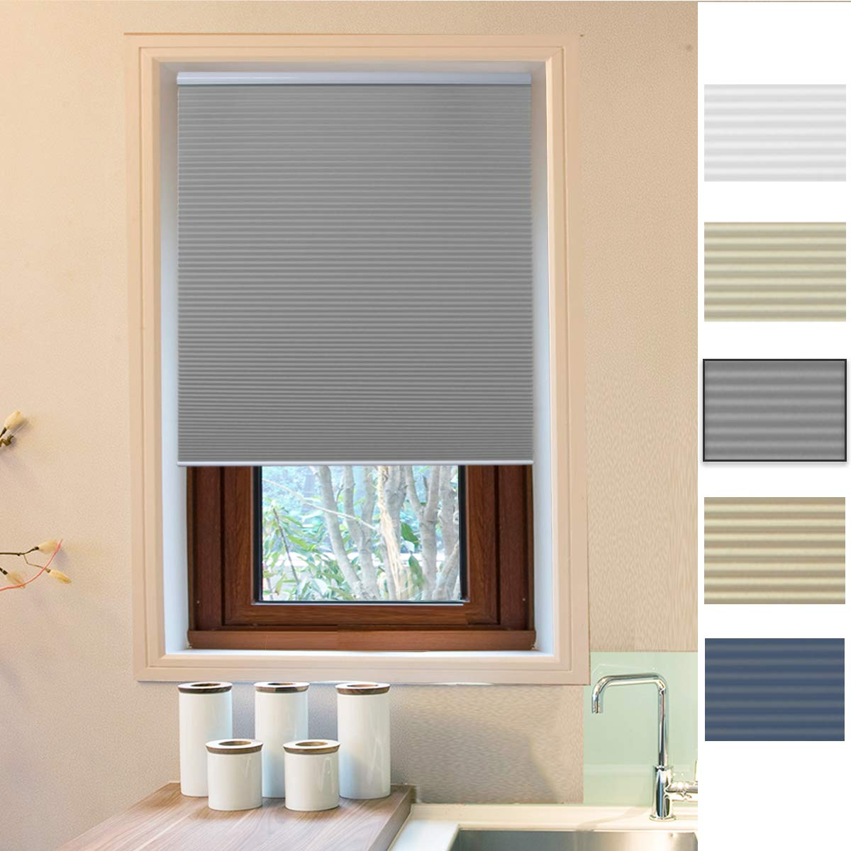 Allesin Cellular Honeycomb Blinds White Dark Gray Blackout 36'' W x 64'' H Single Cell Pleated Shades Cordless Room Darkening Inside & Outside Mount for Windows by Allesin