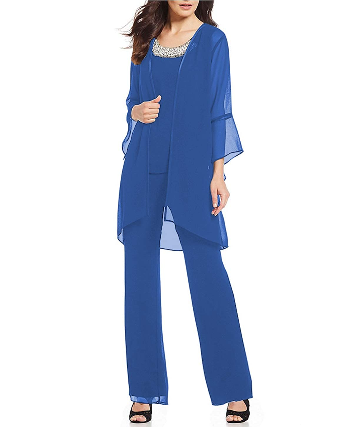 bluee Aesido Women's Mother of The Bride Pant Suits 3 Pieces Evening Special Occasion Dress Ouftit Groom Wedding