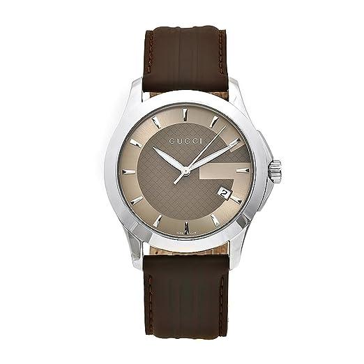 Gucci YA126403 - Reloj de cuarzo para hombre, con correa de sintético, color marrón: Amazon.es: Relojes