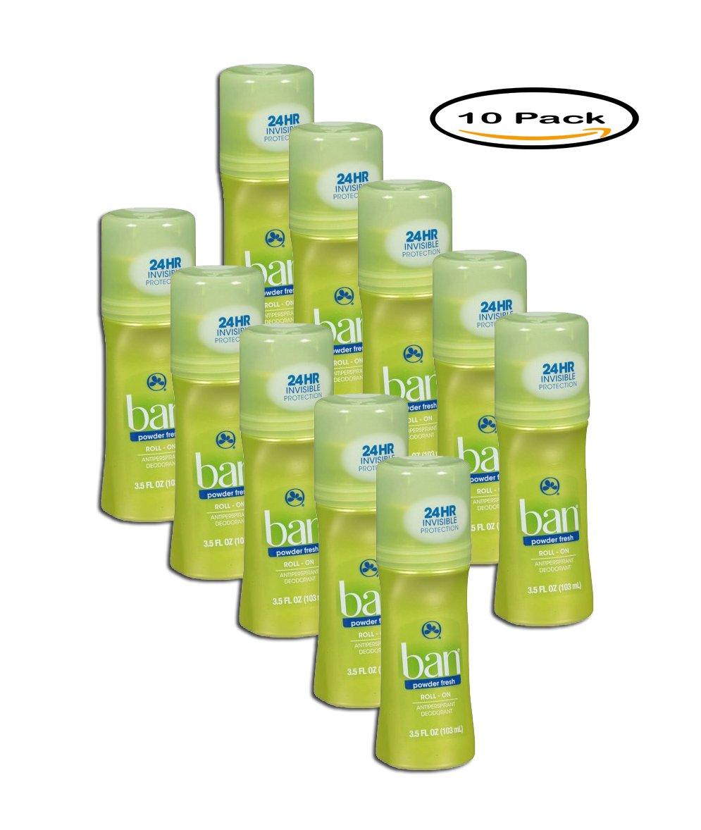 PACK OF 10 - Ban Powder Fresh Original Roll-On Antiperspirant/Deodorant, 3.5 Oz