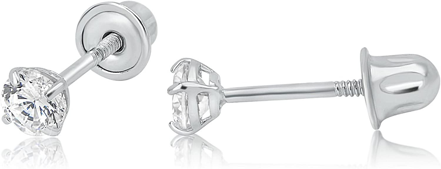 Olivia's Collection 14k Gold Low Profile Screw Back Stud Earrings 3-7mm