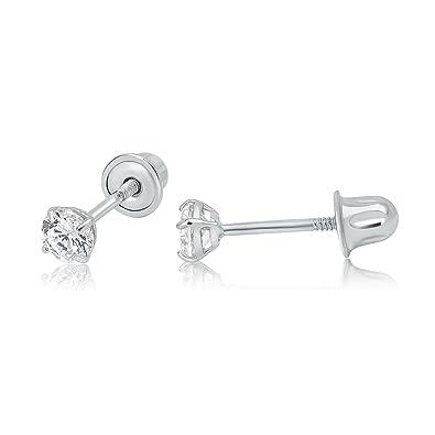 cd0f17c5d Amazon.com: 14k WG Screw Back Stud Earrings 3mm 41315: Jewelry