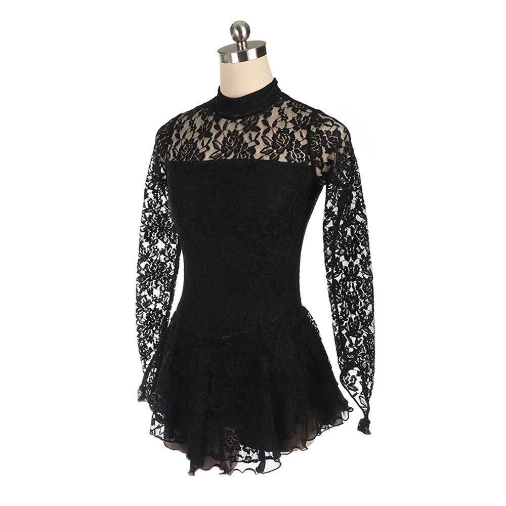 Kmgjc Vestido de Patinaje artístico Negro Falda de Patinaje sobre ...