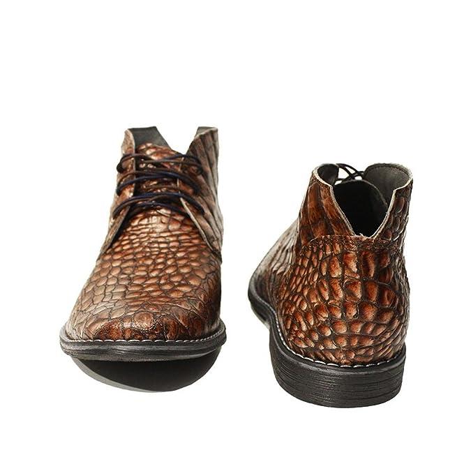 Modello Umberto - Cuero Italiano Hecho A Mano Hombre Piel Marrón Chukka Botas Botines - Cuero Cuero Repujado - Encaje: Amazon.es: Zapatos y complementos