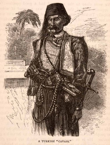 1875 Wood Engraving Turkish Cavass Bodyguard Attendant Police Officer Istanbul - Original Engraving from PeriodPaper LLC-Collectible Original Print Archive