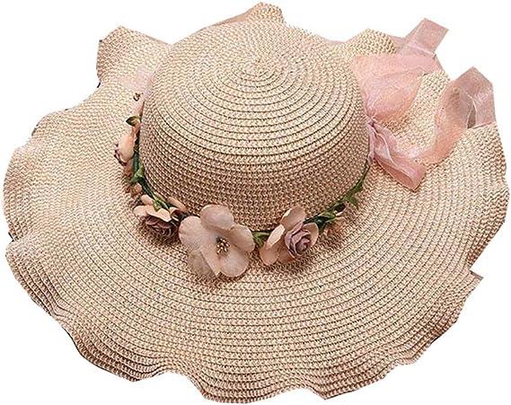 Women Flower Straw Hat Foldable Floppy Wide Brim Sun Hats Summer Beach UV Protection Caps for Ladies