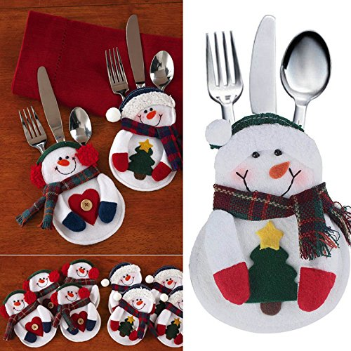 Vktech Xmas Decor Snowman Kitchen Tableware Holder, Set of 8 (Settings Xmas Table)