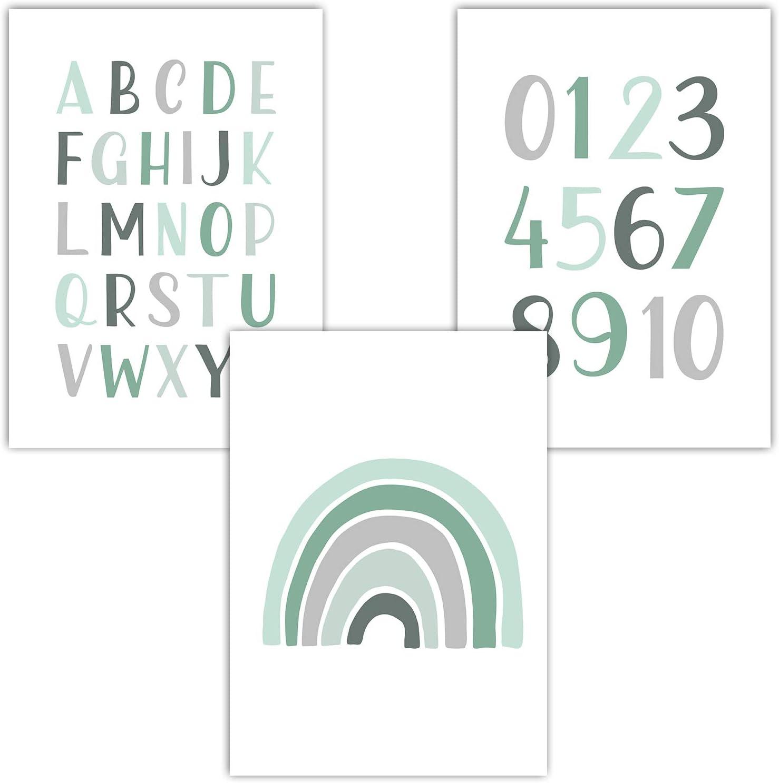 tama/ño DIN A4 sin marco Juego de 3 p/ósteres para habitaci/ón infantil y de beb/é para ni/ñas y ni/ños Frechdax/®