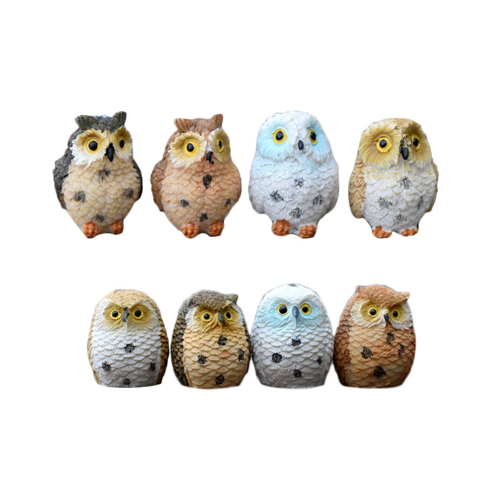 Miraclekoo 8 Piece Miniature Fairy Garden Owl Ornament Dollhouse Plant Pot DIY Decor Home Decoration