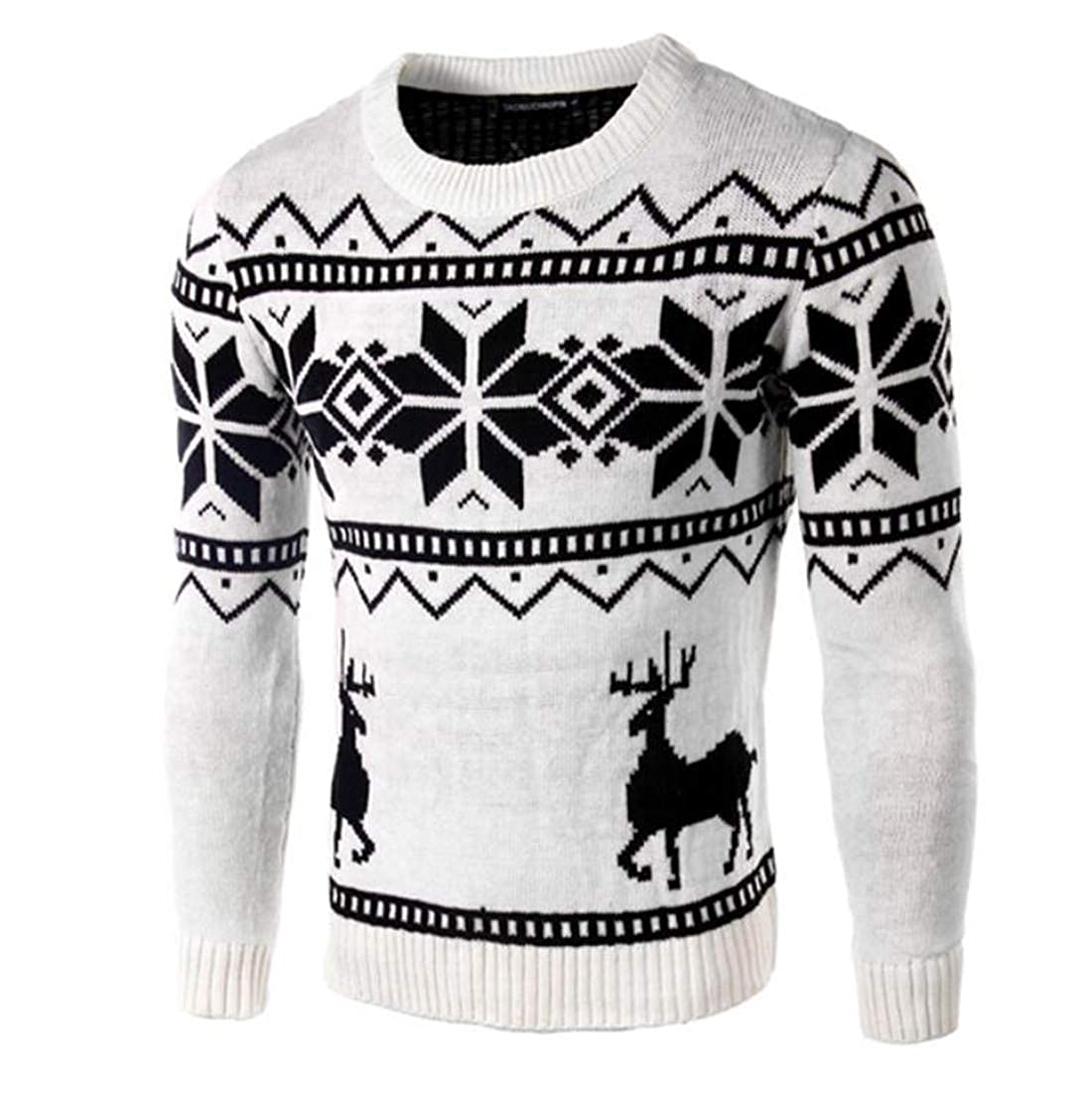 JXG Men Slim Fit Round Neck Long Sleeve Snowflake Knit Sweater Pullover