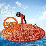 Flexible Garden Hose 125FT Expandable Magic Water Pipe with 7 Spraying Modes Spray Gun - Orange