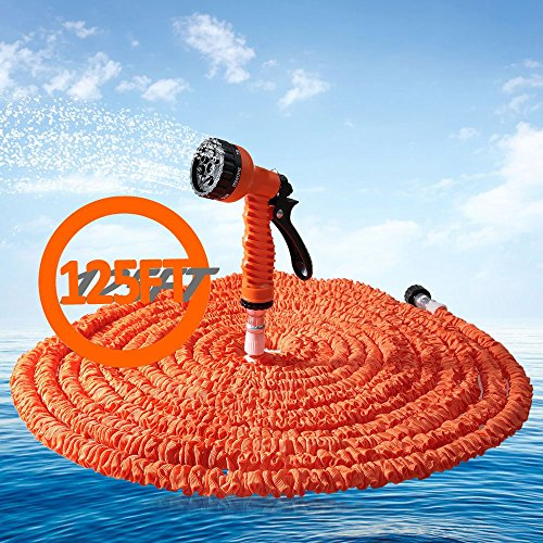 Flexible Garden Hose 125FT Expandable Magic Water Pipe with 7 Spraying Modes Spray Gun - Orange by OLSUS