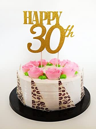 Gold Glitter QuotHappy 30thquot Birthday Cake Topper