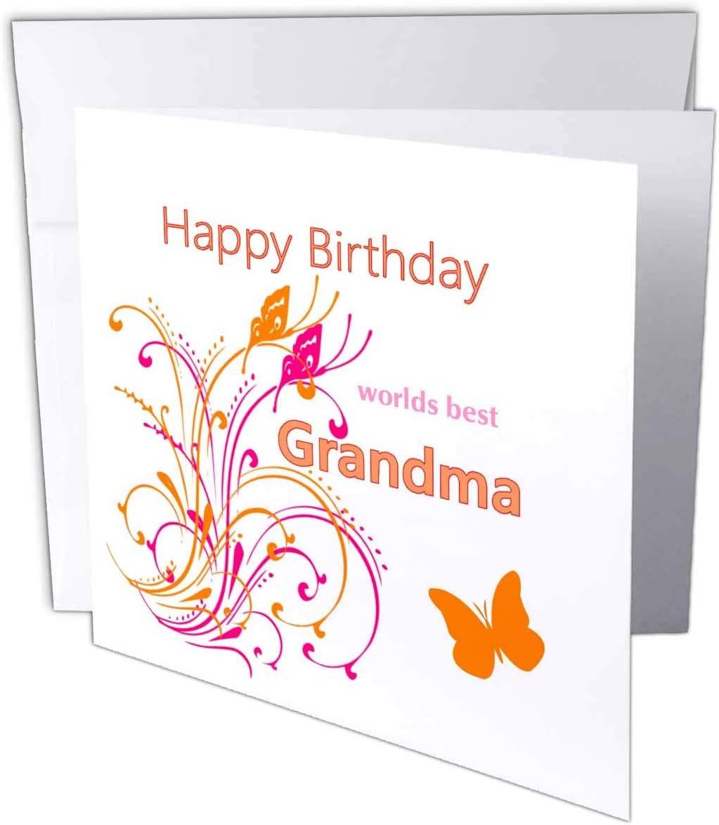 "3dRose Image of Happy Birthday Worlds Best Grandma with Flourish - Greeting Card, 6"" x 6"", Single (gc_233636_5)"