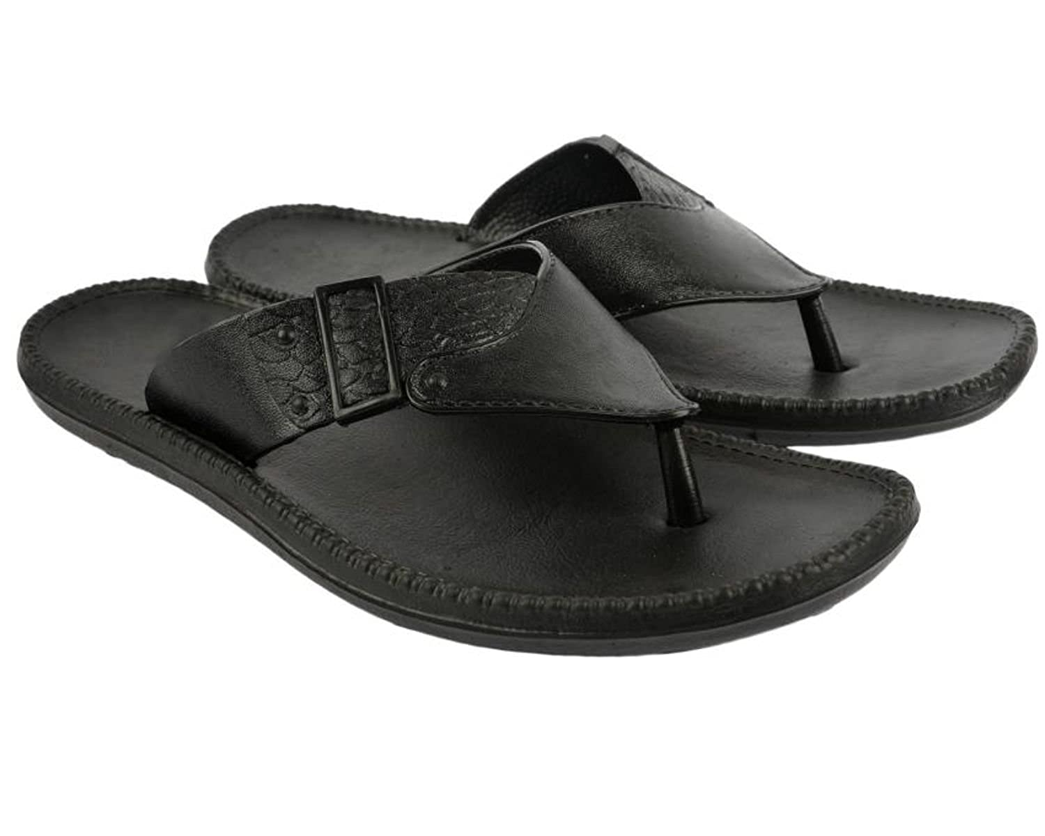 f5992398cc03 EDIZI Men's And Boy's Black Slippers And Flip Flops: Amazon.in: Shoes &  Handbags