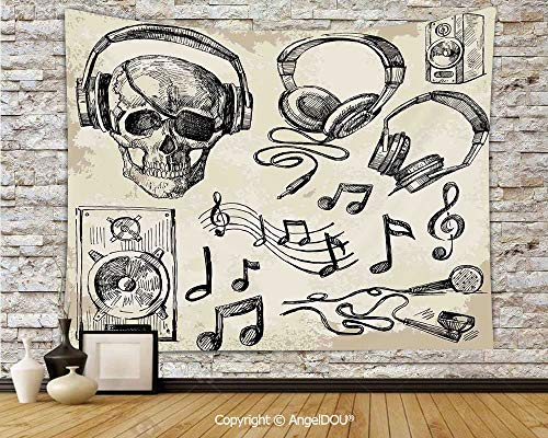 AngelDOU Music Decor New Nordic Decorative Tapestry Background Tarpaulin Sketchy Music Background Hipster Skull with Headphones Record Player Mic Speakers Print Cloth Hanging paintW78.7xL59(inch)