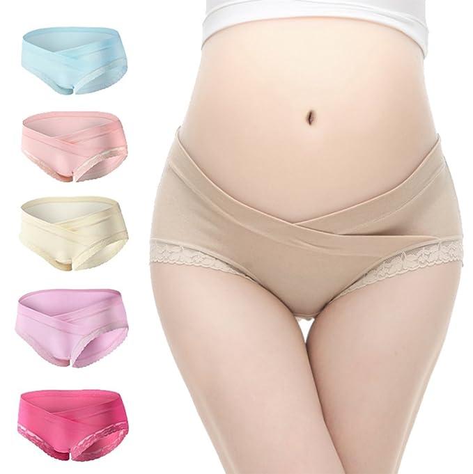 92a62a8bf2a GFIONG Women Maternity Briefs Pregnancy Lace Low Waist Underwear Panties 4  Pcs Pack (1