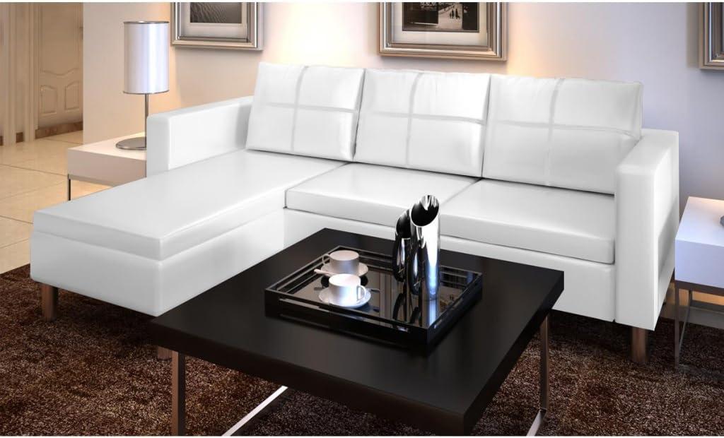 Festnight Sofa de Piel con 3 Asientos Blanco 188 x 122 x 77 cm