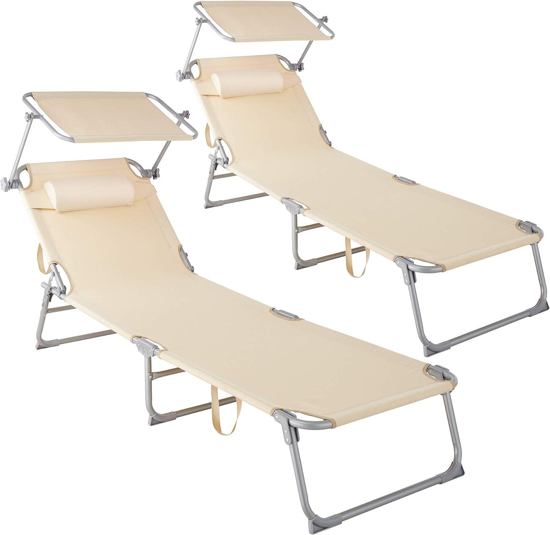TecTake 800773 Set 2X Tumbona de Playa con Parasol, Respaldo Ajustable 4 Posiciones, Reposacabezas Extraíble, Exterior Piscina Terraza Jardín (Beige | No. 403418)