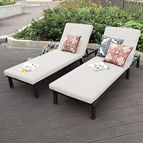 OAKVILLE FURNITURE 61702 Outdoor Patio Rattan Adjustable Pool Chaise Lounge Chair, Set of 2, Brown Wicker, Beige Cushion (White Wicker Lounge Chaise Chairs)
