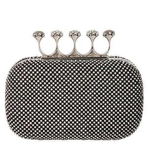 Rhinestone Satin Wedding Ring - Rimen & Co. Rhinestone Crystal Ring Knuckle Wedding Clutch Evening Bag Purse EB-010 (Black)