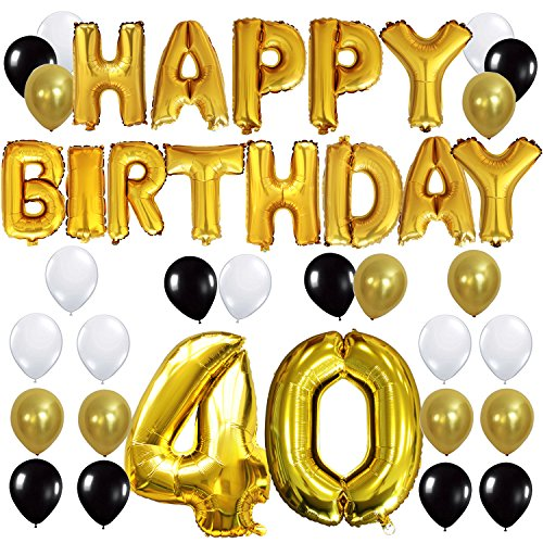 """KUNGYO 40TH Birthday Party Decorations Kit - Happy Birthday Balloon Banner, Number """"40"""" Balloon Mylar Foil, Black Gold White Latex Ballon, Perfect 40 Years Old Party Supplies (40 Year Old Party Decorations)"""