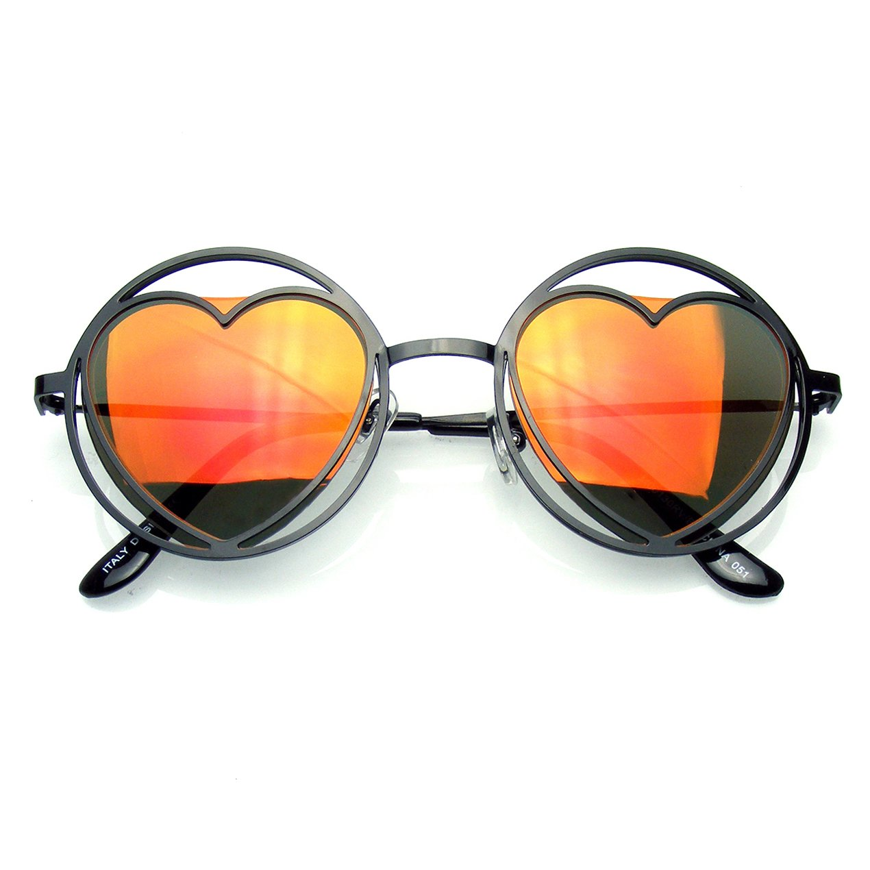 89397d2379 Amazon.com  Womens Round Metal Heart Shape Hippie Circle Sunglasses  (Black)  Clothing