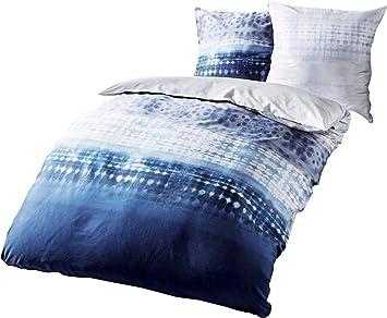 Kaeppel Fein Biber Bettwäsche 240x220cm Embrace Indigo Blau Silber
