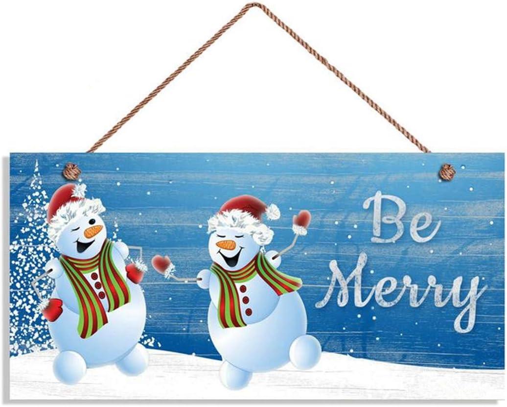 YILMEN Be Merry Sign Dancing Snowmen Hanging Wall Art Home Decor Wood Decorative Funny Sign Garden Sign 10