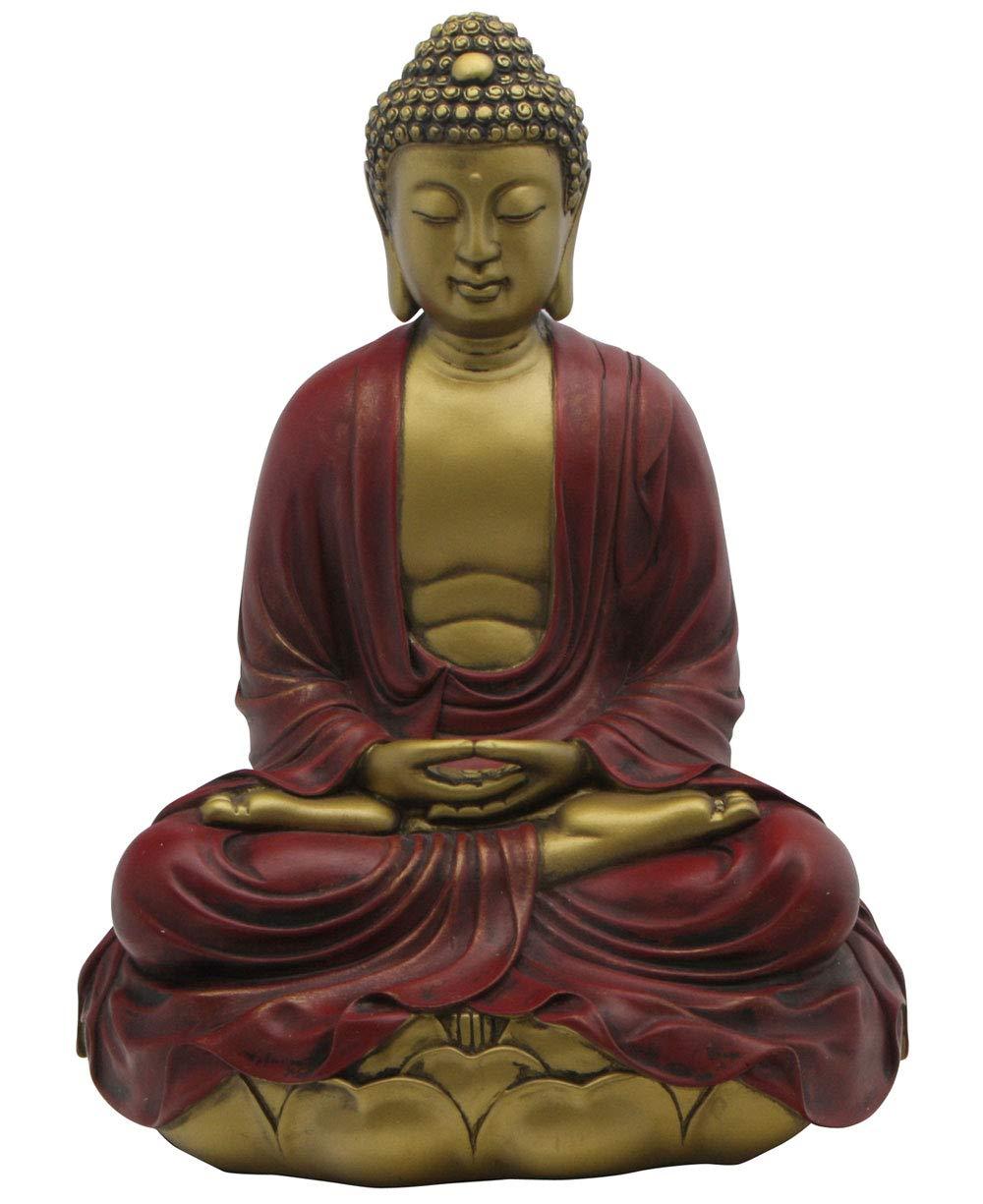 Buddha Groove Premium Quality Serene Meditating Buddha Statue in a Minimalist Design, Multiple Colors Red-Gold