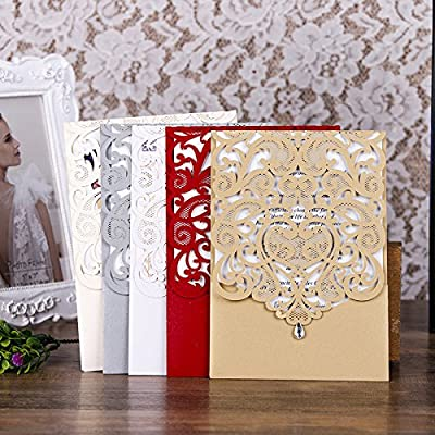 PONATIA 25PCS Lacer Cut Invitations Cards with Rhinestone Hollow Flora Favors For Wedding Bridal Shower Invitation Baby Shower Engagement Birthday Invitation Graduation