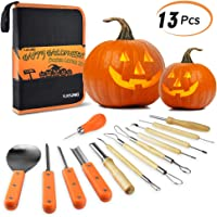 KATUMO Halloween Pumpkin Carving Kit, 13 Pcs Heavy Duty Stainless Steel Carving Tools Set for Halloween Decoration with Carrying Case