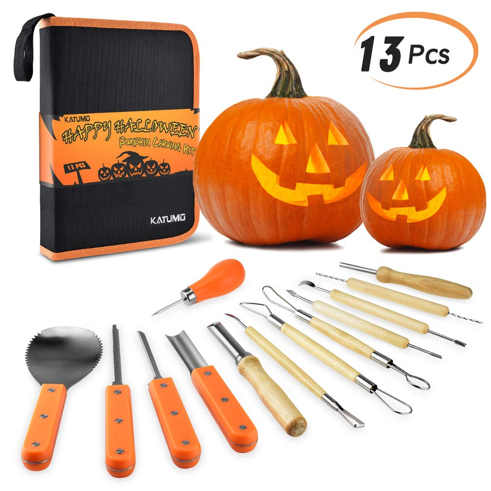 KATUMO Halloween Pumpkin Carving Kit, 13 Pcs Heavy Duty Stainless Steel Carving Tools Set for Halloween Decoration with Carrying Case by KATUMO