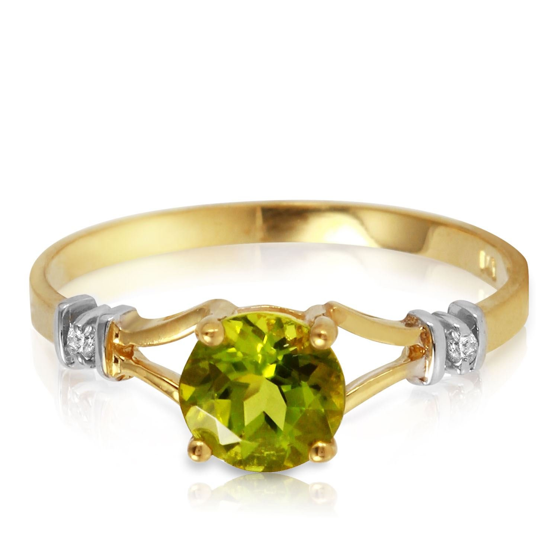ALARRI 0.87 Carat 14K Solid Gold Love Requiem Peridot Diamond Ring With Ring Size 10