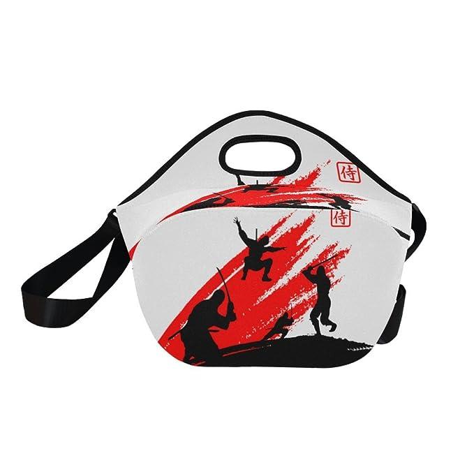 InterestPrint Japanese Ninja Monk Reusable Insulated Neoprene Lunch Tote Bag Cooler 15.04