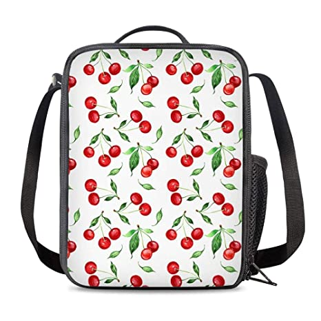 f5d031bb8e6c Amazon.com: PrelerDIY Cherry Insulated Lunch Bag Cooler Thermal ...