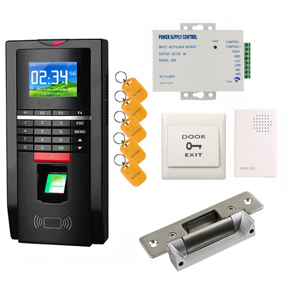 Bio Fingerprint Reader and Rfid Key Fob Door Access Control System & Time Attendance Kits ANSI Strike Lock USA Use 110V Power Unit by RFID-SECURITY