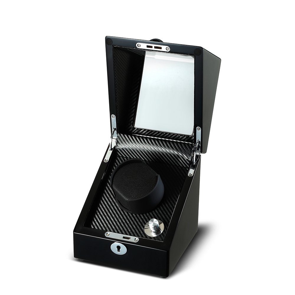 OLYMBROS Wooden Single Rotor Automatic Watch Winder Storage Box in Black by Olymbros (Image #3)