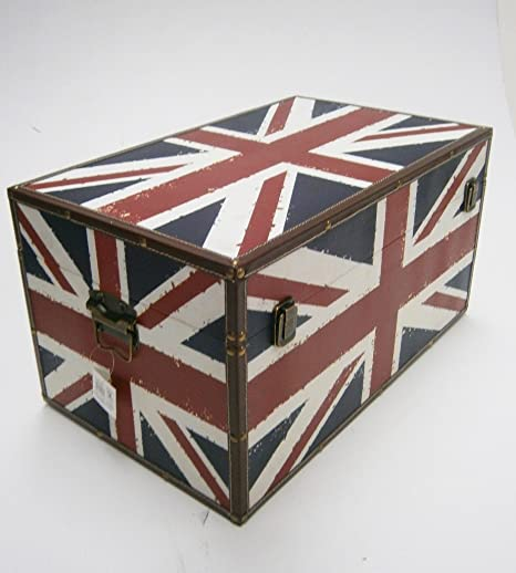1bb2f0cee0 UNION JACK STRONG WOODEN STORAGE UNIT CHEST BOX TRUNK. Medium: L50 x W28 x  H22 cm: Amazon.co.uk: Kitchen & Home