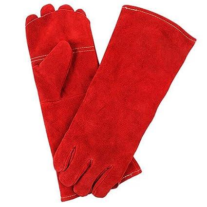 GG-gloves Soldadura eléctrica Guantes Soldadura de Doble Capa Larga Gruesa Trabajo Anti-mordedura