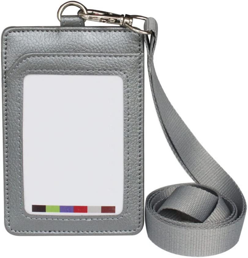 Ufficio Finta Pelle Porta Badge Verticale Scuola Verde Kentop con Cordino in Nylon per Ufficio 11.2 * 7.5cm ECC in Ecopelle