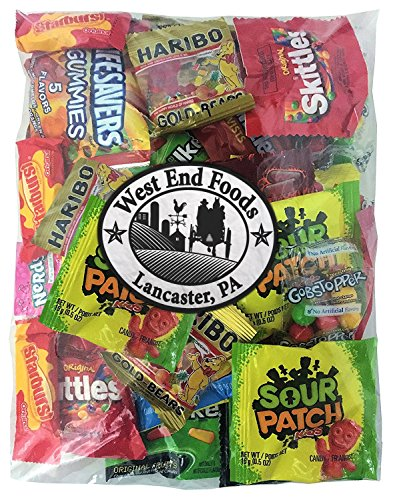 Candy Assortment (1 Pound) of Gummy Bears, LifeSavers, Skittles, Starburst, Swedish Fish, Twizzlers, Nerds, Sour Patch, for Party (Cheap Halloween Baskets)