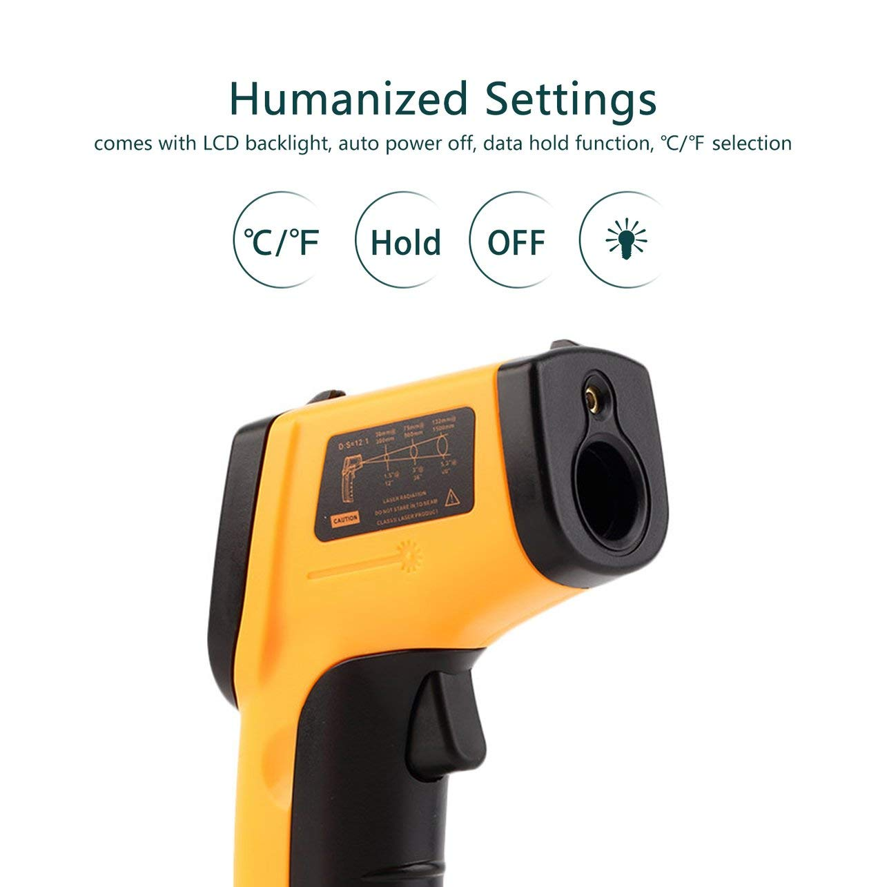 WOSOSYEYO Pirometro termometro a infrarossi Digitale Senza Contatto IR Laser Point Pirometro a infrarossi a Temperatura Termica per Imaging Digitale Pirometro (Colore: Giallo)