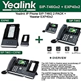 Yealink IP Phone SIP-T46G 2-PACK 16-Lines PoE + EXP40 2-PACK Expansion Module