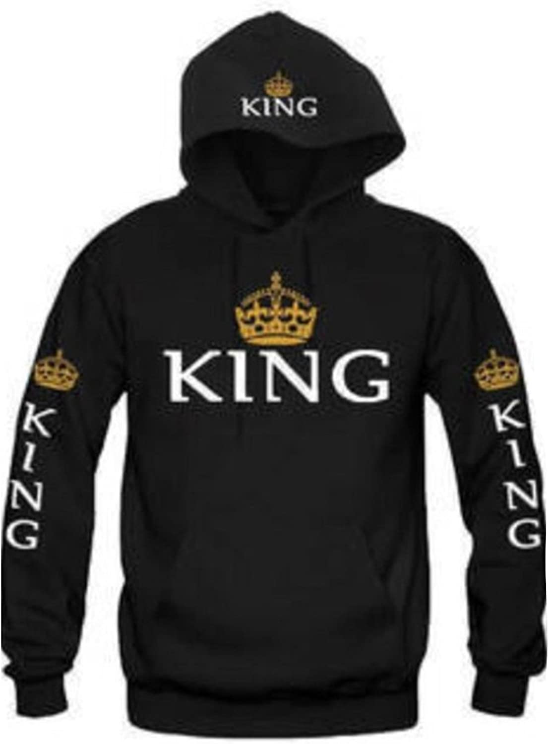 Fanvans Couple Casual Loose Letters Print King Queen Hooded Pullover Lovers Sweater