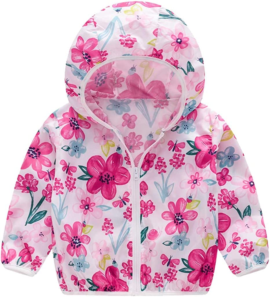 Clearance Girls Boys Winter Warm Butterfly Print Long Sleeve Hooded Windproof Down Jacket
