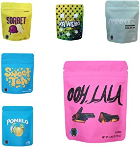Mr.Ma Rich Mylar Bags Edible Packaging Resealable Smell Proof with Free Stick on Labels & Free Authenticity Stickers (mixed 1#,60)